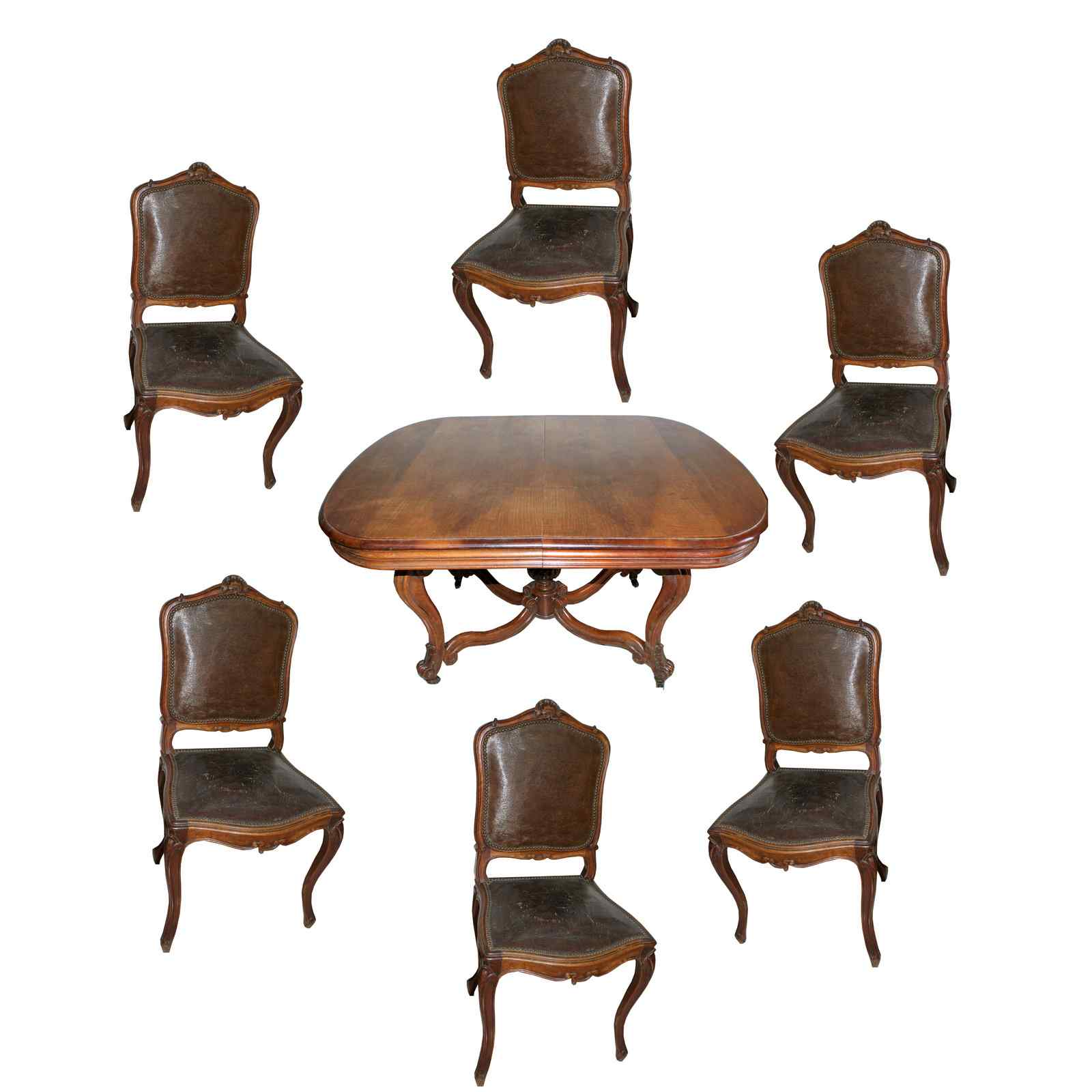Table + 6 chairs in solid walnut France, 19th century