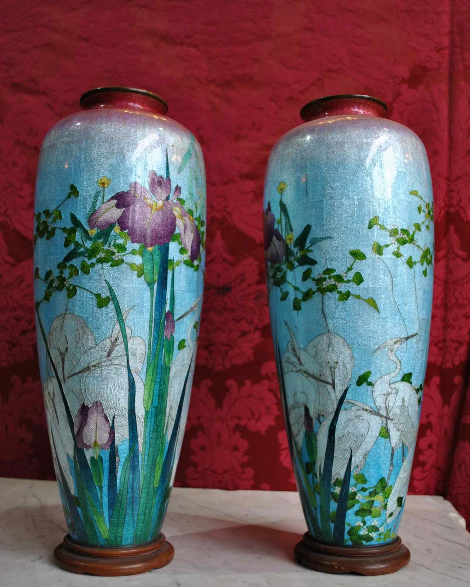 Rare paire de grands vases Ginbari, Japon XIXème siècle