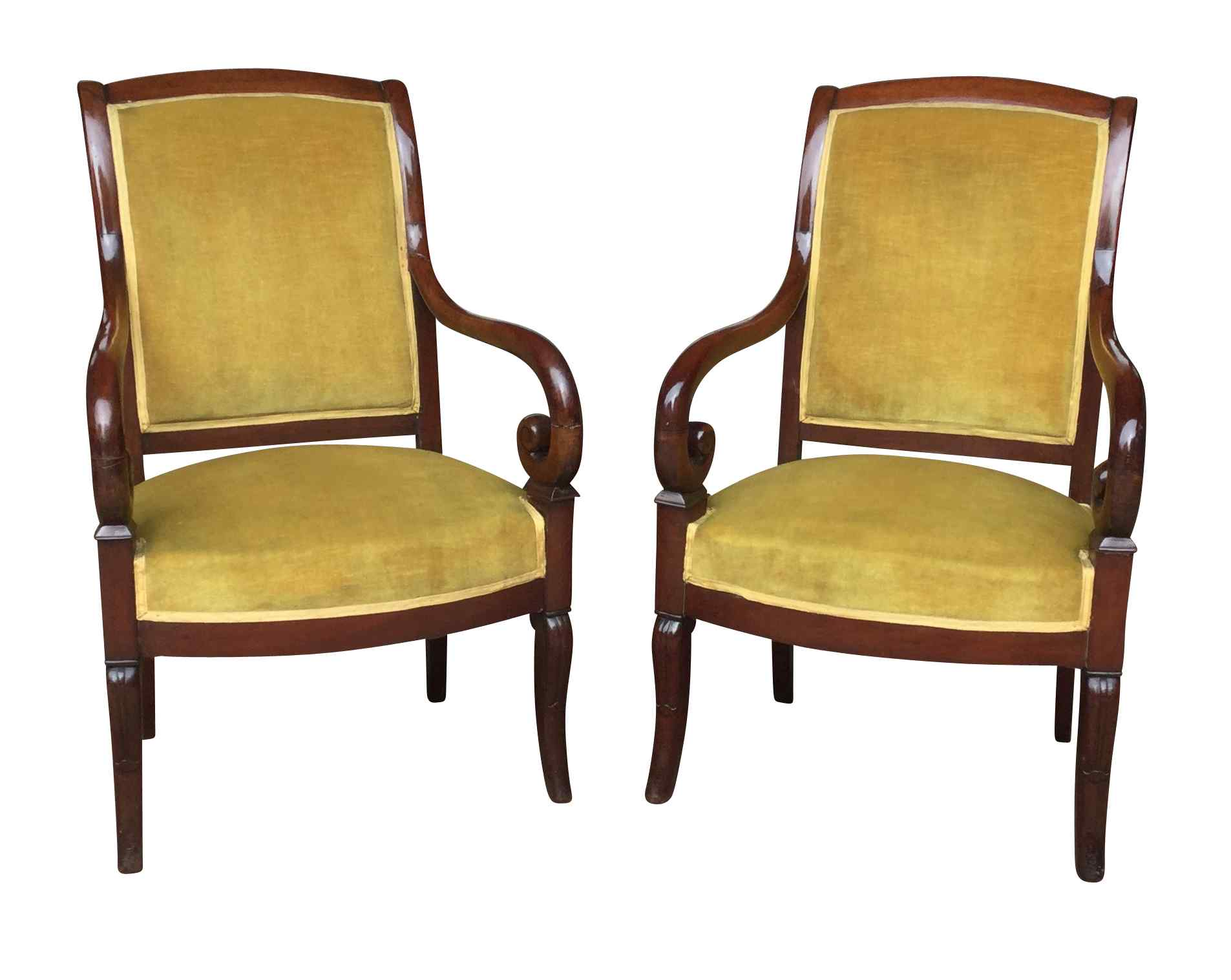 Pair of Mahogany Restoration period armchairs