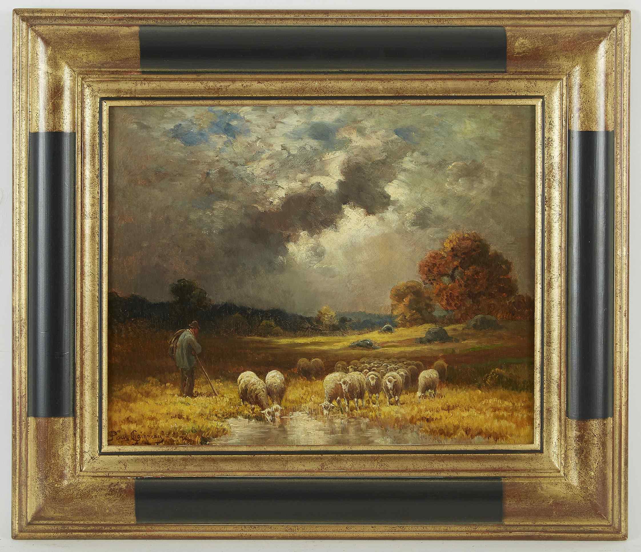 Paul Chaigneau, Shepherd And Flock, School Of Barbizon.