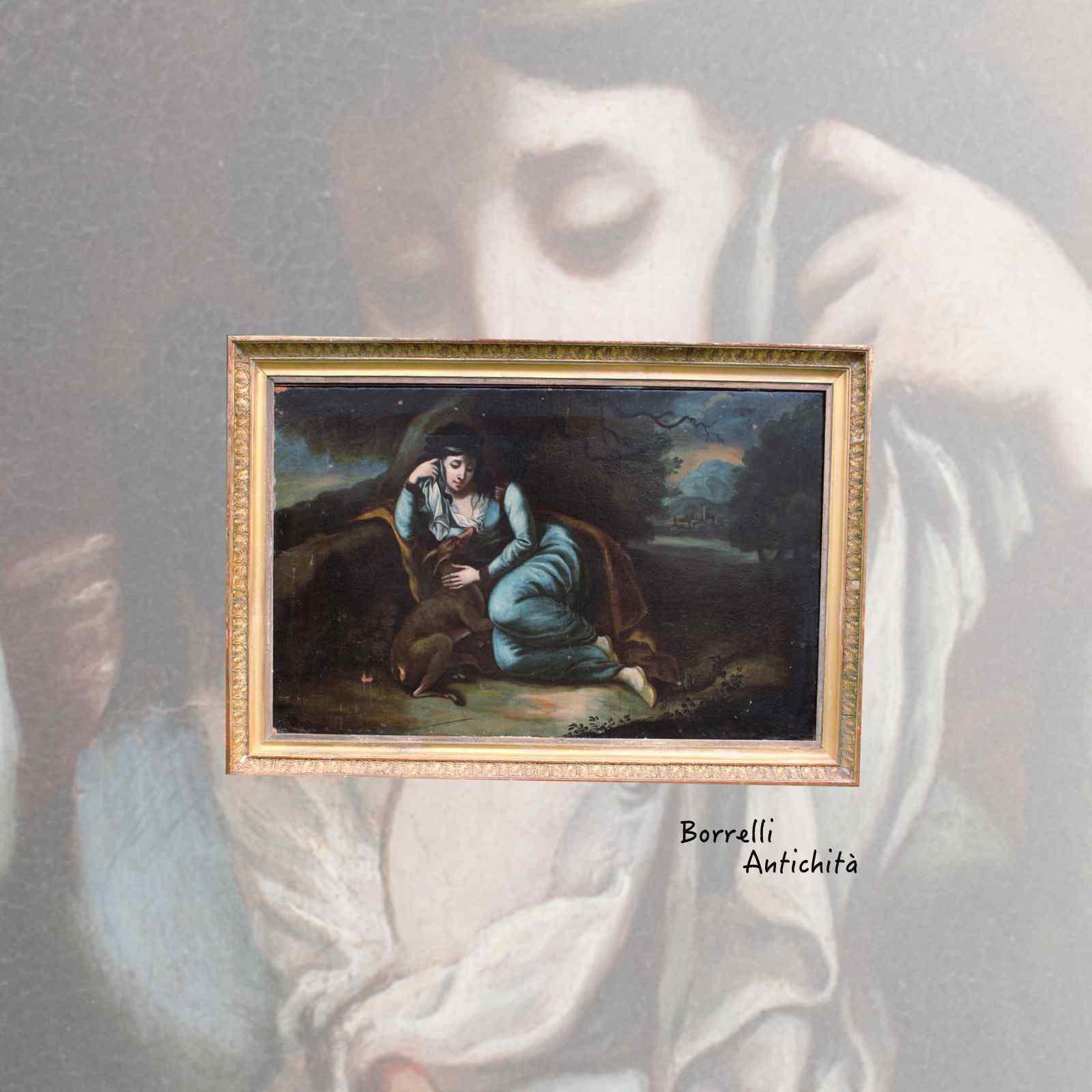 Ancienne peinture à l'huile sur toile représentant Noblewoma