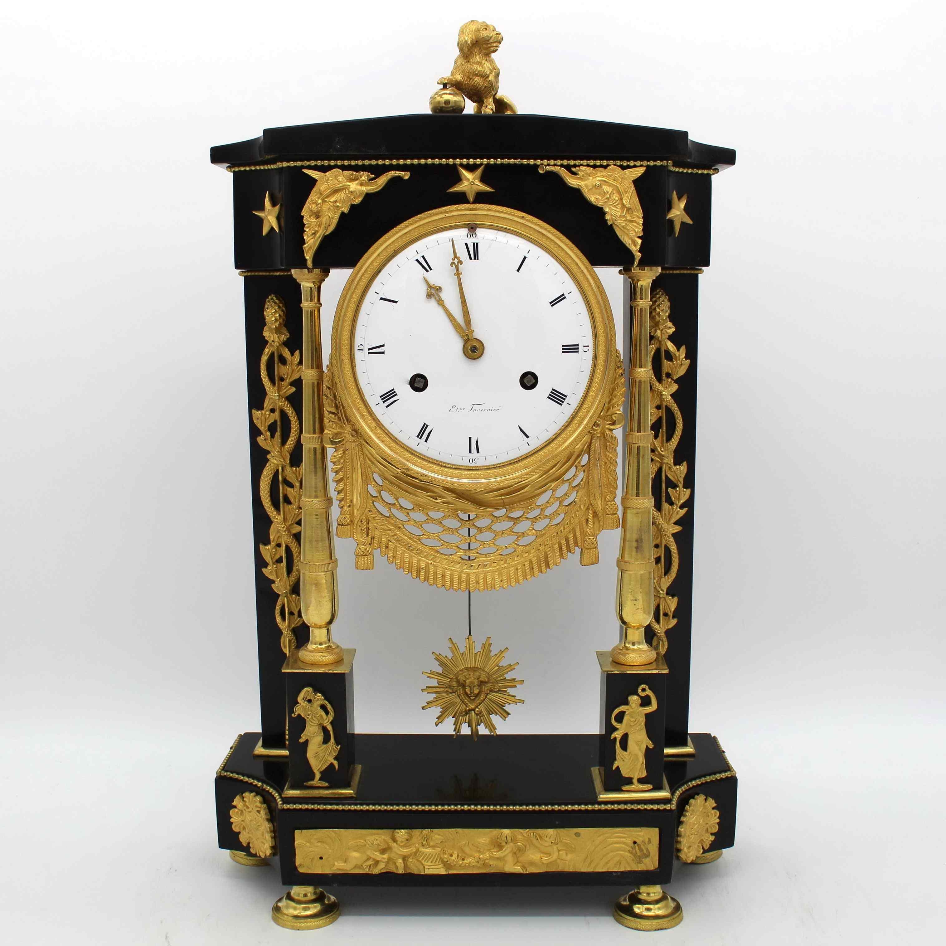Ancien Horloge Pendule Empire en bronze et marbre - 19ème