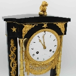 Ancien Horloge Pendule Empire en bronze et marbre - 19ème-4