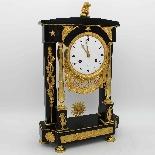 Ancien Horloge Pendule Empire en bronze et marbre - 19ème-1