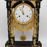 Ancien Horloge Pendule Empire en bronze et marbre - 19ème-7