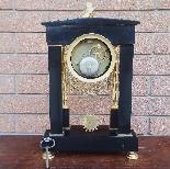 Ancien Horloge Pendule Empire en bronze et marbre - 19ème-13