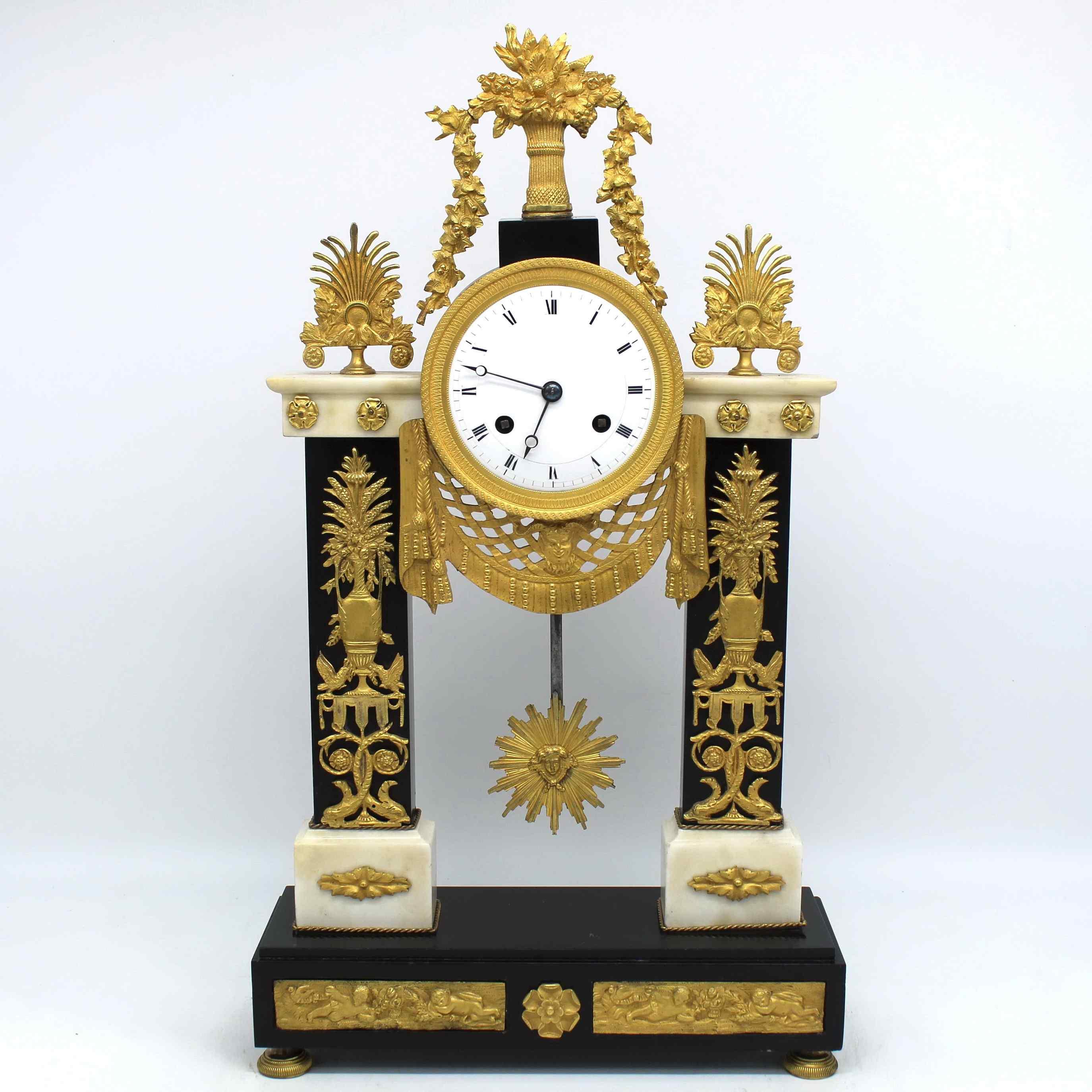 Antique Empire Pendulum Clock in bronze and marble - 19th