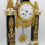 Antique Empire Pendulum Clock in bronze and marble - 19th-7