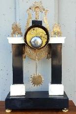 Antico Orologio a Pendolo Impero in bronzo e marmo - XIX sec-12