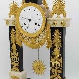 Antique Empire Pendulum Clock in bronze and marble - 19th-8