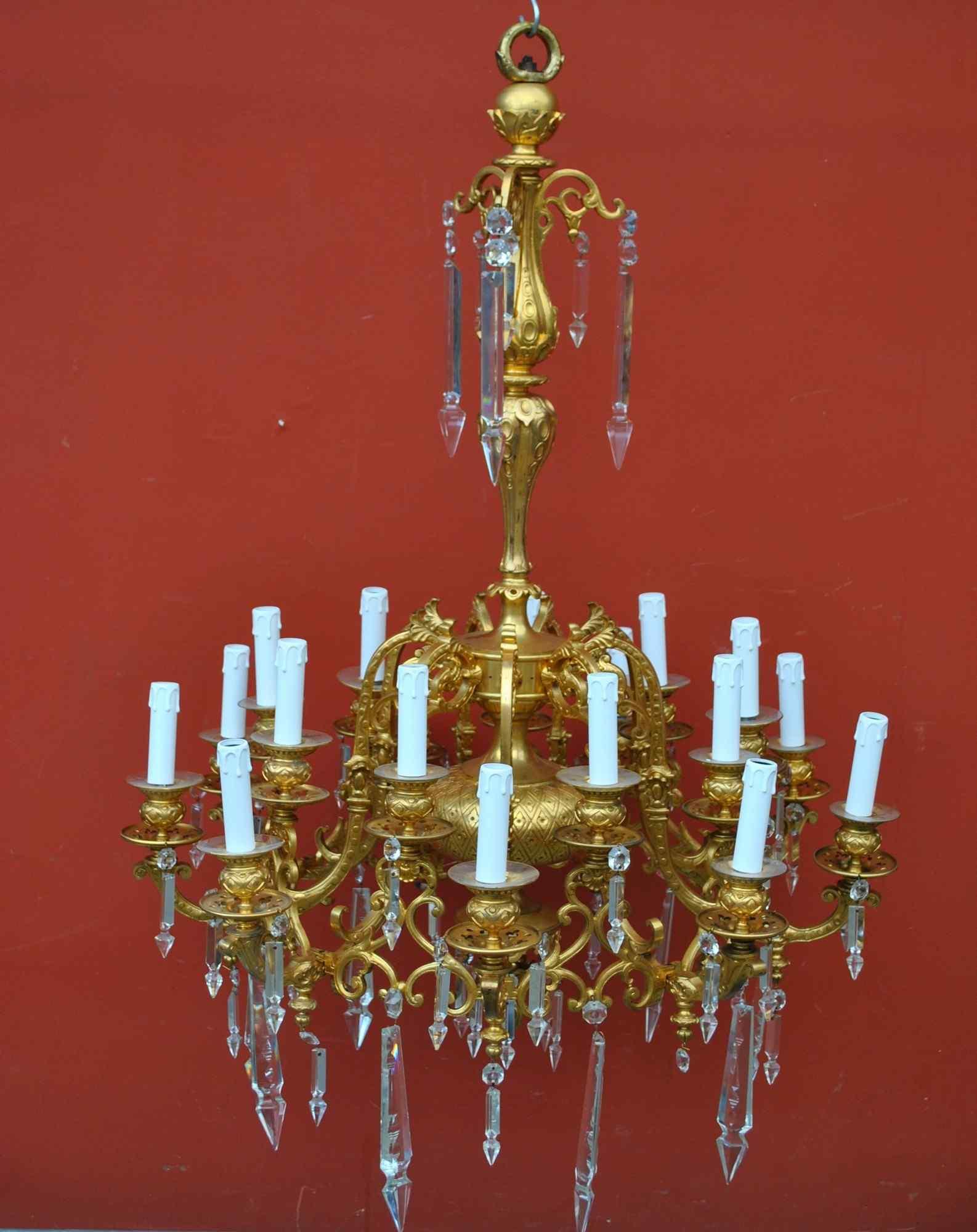 Lampadario in bronzo e cristallo, orientaleggiante, XIX seco