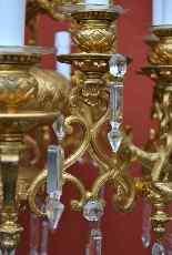 Lampadario in bronzo e cristallo, orientaleggiante, XIX seco-7
