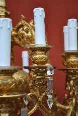 Lampadario in bronzo e cristallo, orientaleggiante, XIX seco-11
