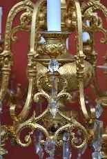 Lampadario in bronzo e cristallo, orientaleggiante, XIX seco-9