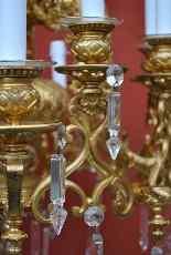 Lampadario in bronzo e cristallo, orientaleggiante, XIX seco-4