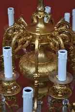 Lampadario in bronzo e cristallo, orientaleggiante, XIX seco-6