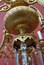 Lampadario in bronzo e cristallo, orientaleggiante, XIX seco-16
