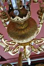 Lampadario in bronzo e cristallo, orientaleggiante, XIX seco-14
