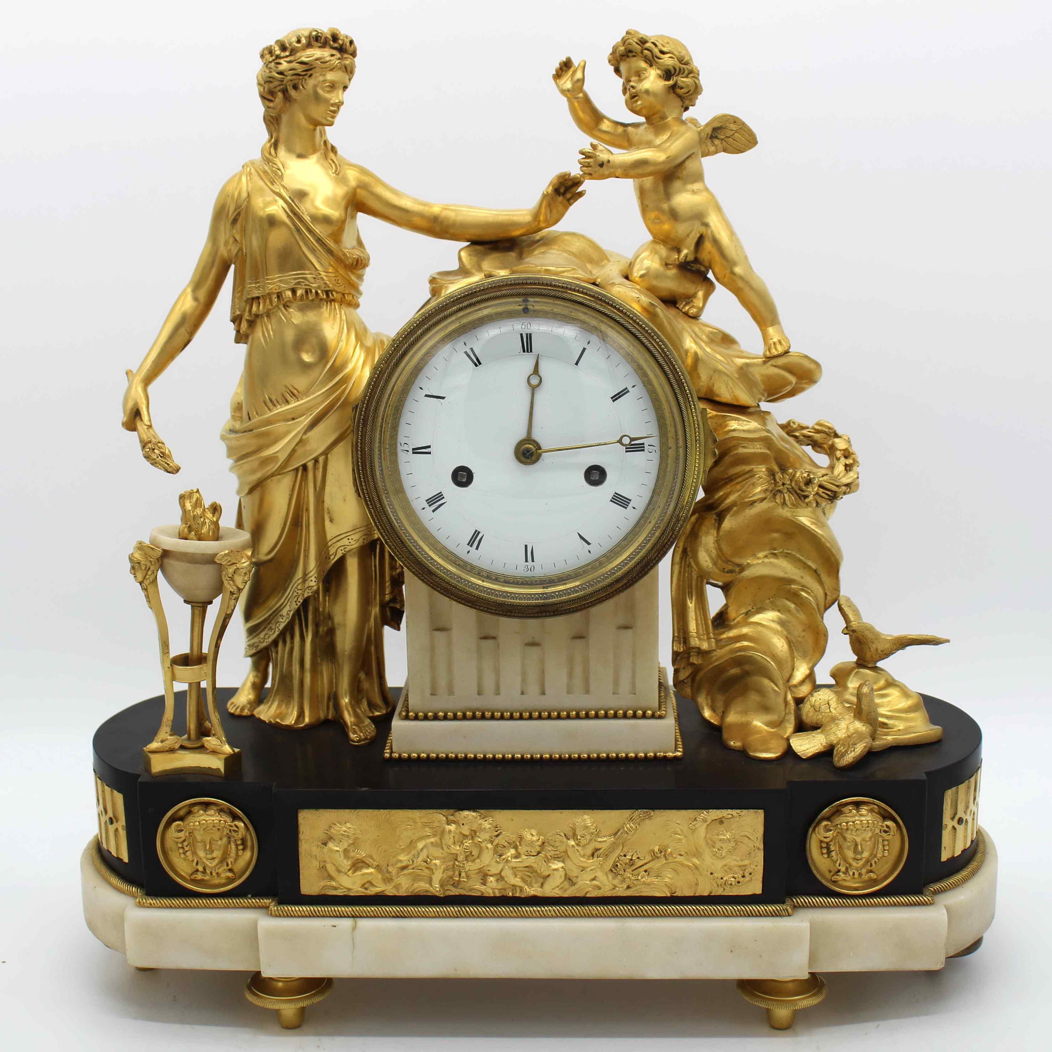 Antique Louis XVI Pendulum Clock in bronze - 18th century