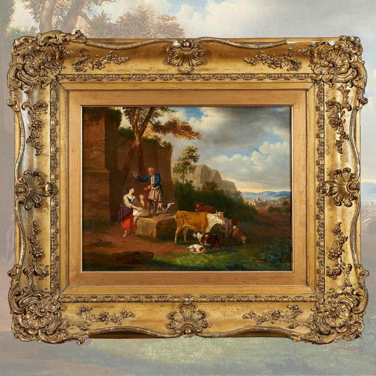 Antico Paesaggio con Figure, firmato Johann Baptist SCHAETZE