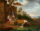 Antico Paesaggio con Figure, firmato Johann Baptist SCHAETZE-1