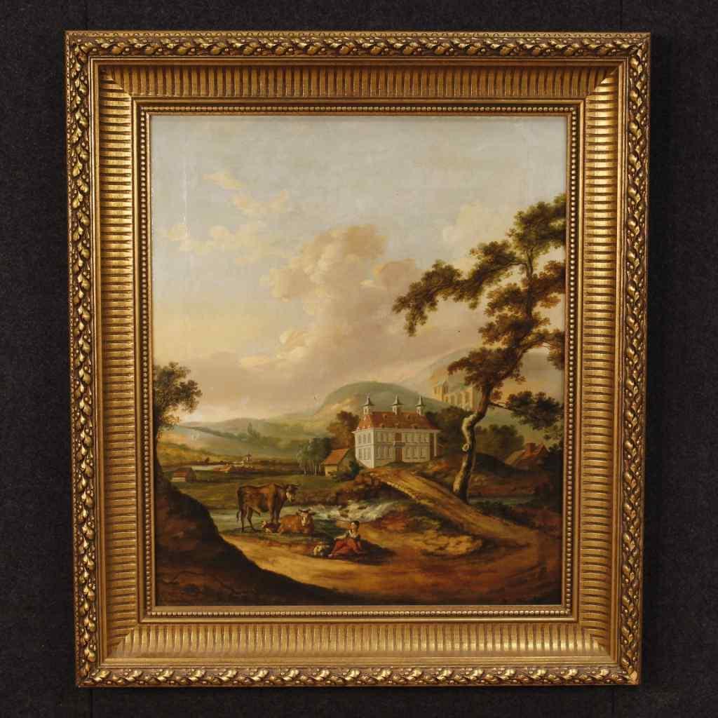 Ancien tableau hollandais de paysage huile sur toile