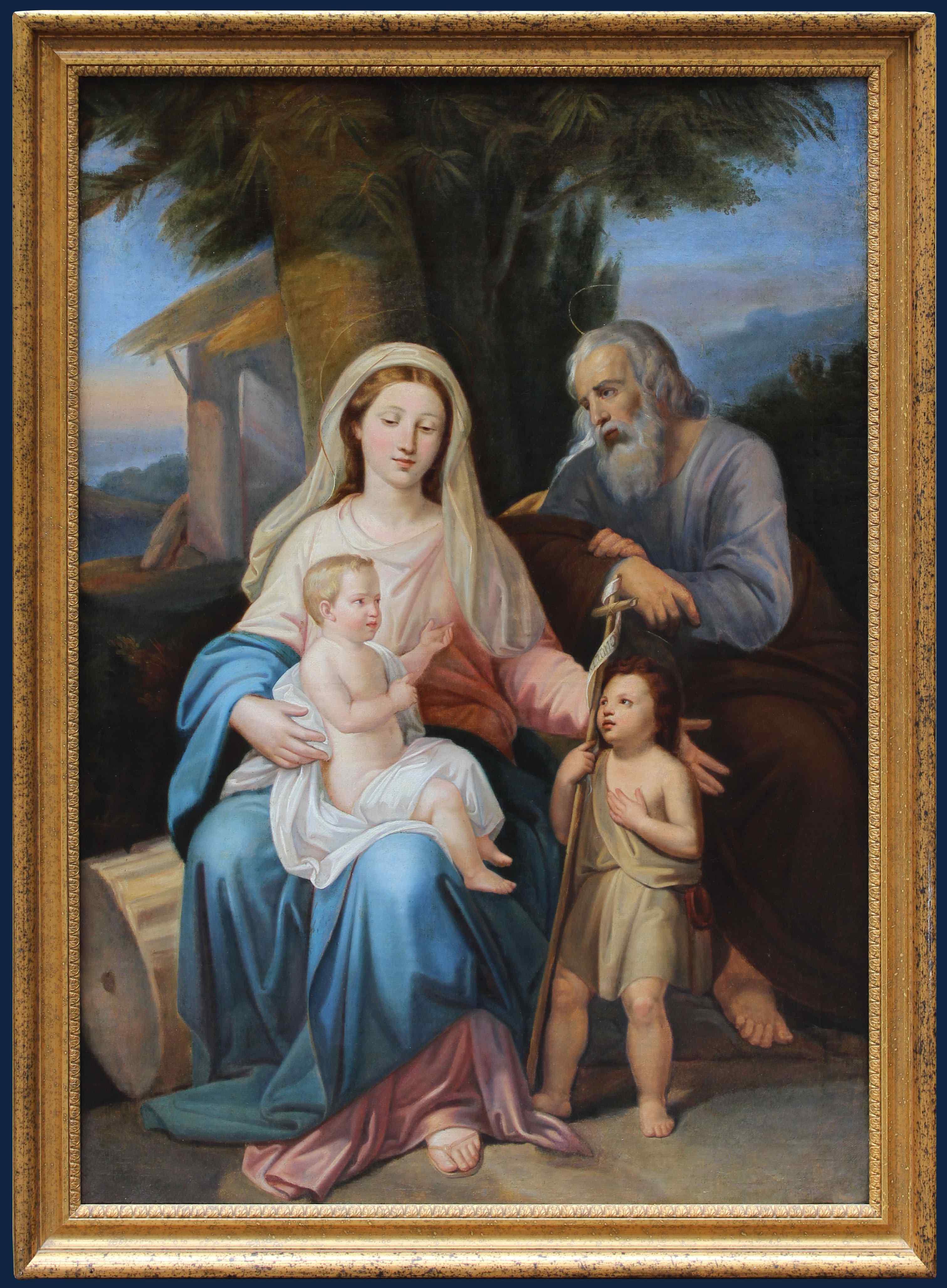 XIXème Siècle Sainte Famille et San Giovino Huile sur toile