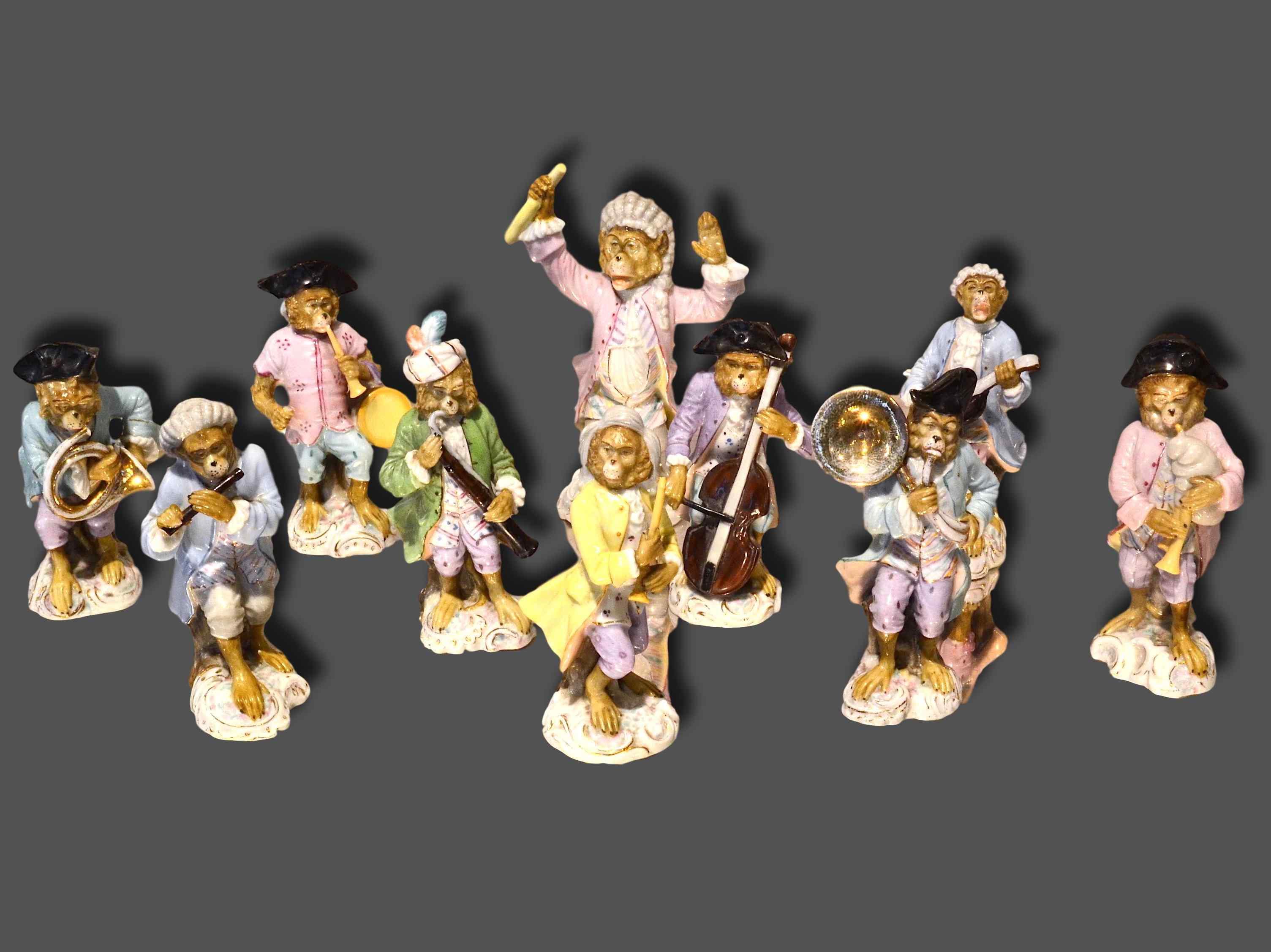 Porcelain monkey orchestra - Germany, end of '800