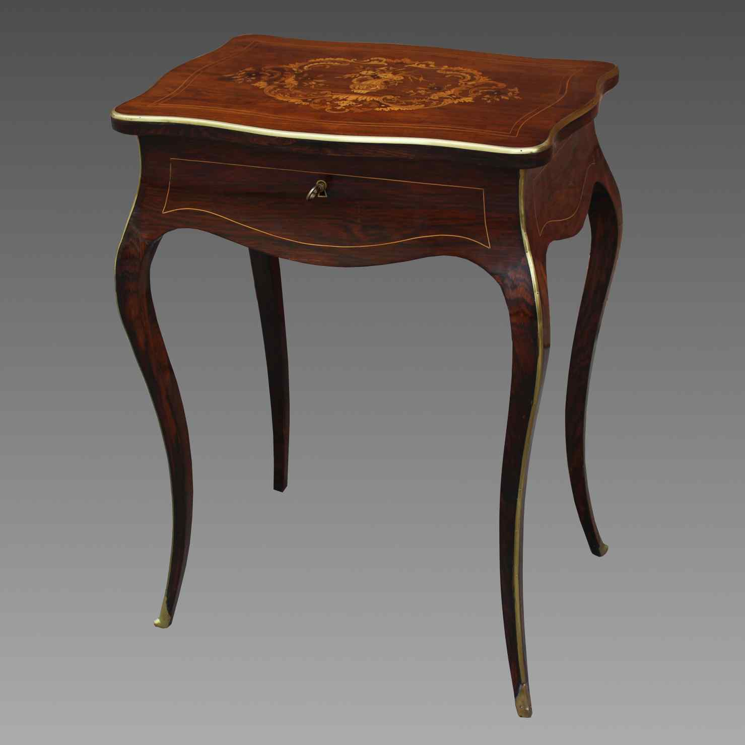 Antique Napoleon III small Table Bedside inlaid-19th