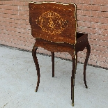 Antique Napoleon III small Table Bedside inlaid-19th-3