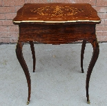 Antique Napoleon III small Table Bedside inlaid-19th-5