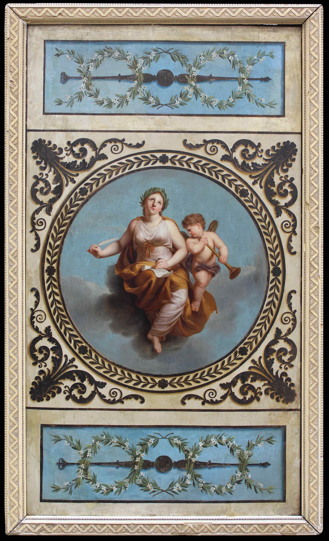 XIXe siècle Gloria à l'amorino ailé Huile sur panneau