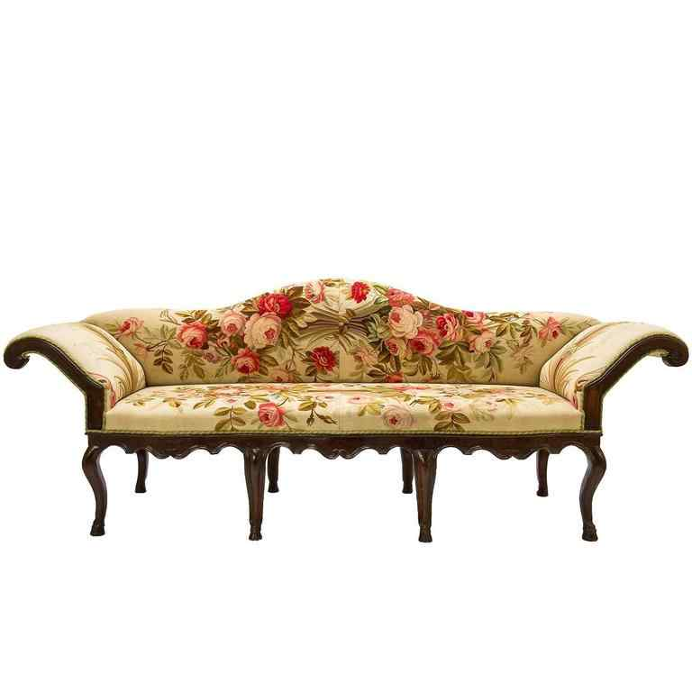 Louis XV sofa covered with 18th century Aubusson tapestry