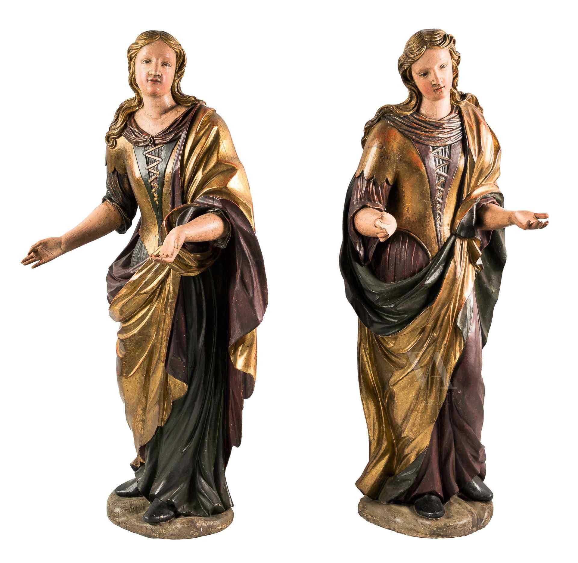 Coppia di sculture raff. Ancelle. Venezia, XVIII sec.