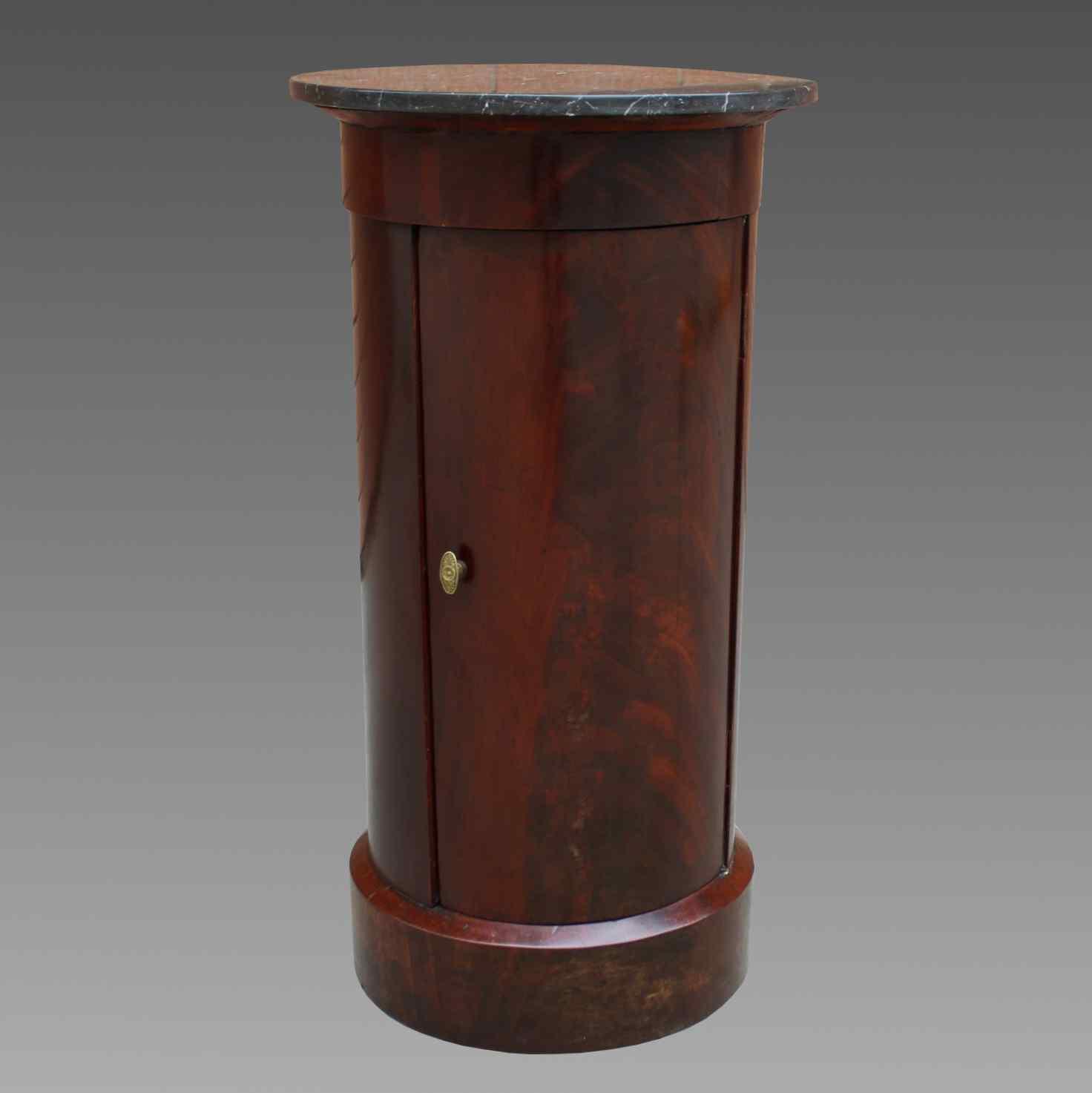 Antico Tavolino Comodino a Cilindro Impero in mogano-XIX sec