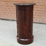 Antico Tavolino Comodino a Cilindro Impero in mogano-XIX sec-3