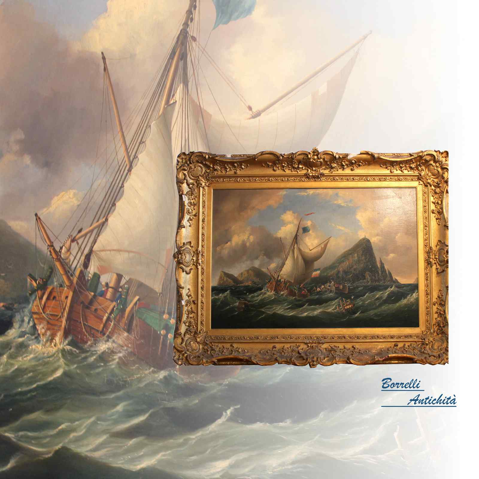 Dipinto antico olio su tela raffigurante marina XIX SEC.