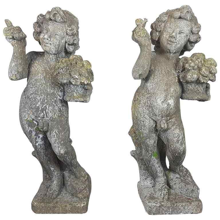 Coppia di putti statue da giardino prima metà Sec. XX