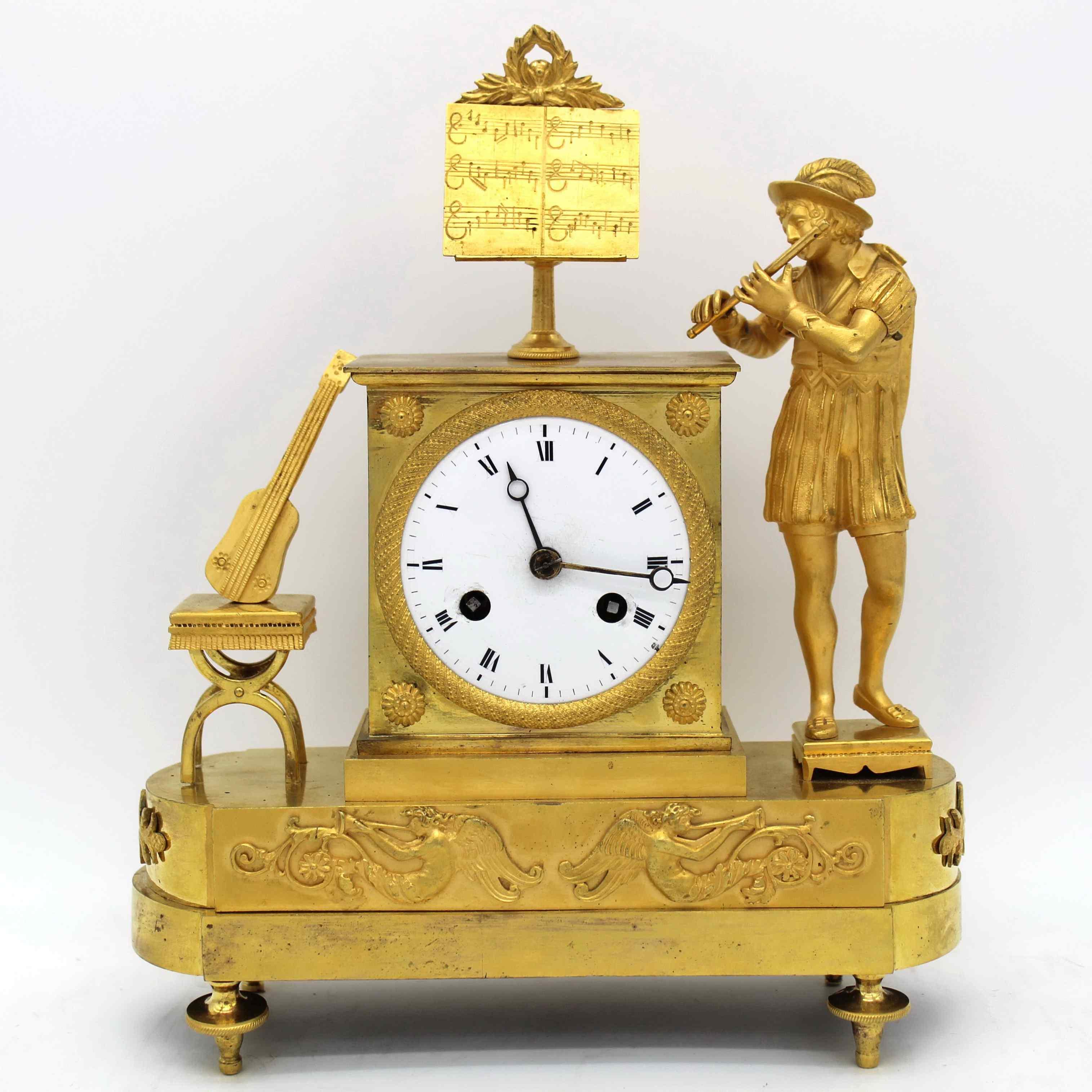 Ancien Horloge Pendule Empire en bronze - 19ème siècle