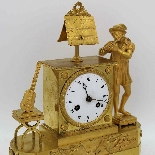 Ancien Horloge Pendule Empire en bronze - 19ème siècle-4