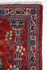 Vieux tapis de chevet Kashan, avec couronne-1