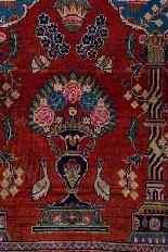 Vieux tapis de chevet Kashan, avec couronne-4