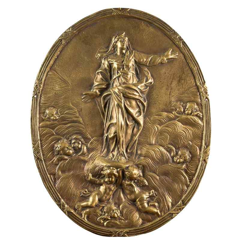 Ascension of the Virgin, gilded bronze plate, XVII