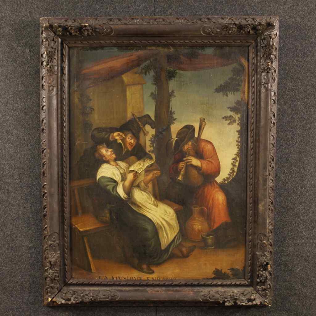 Antico dipinto francese scena popolare olio su tela