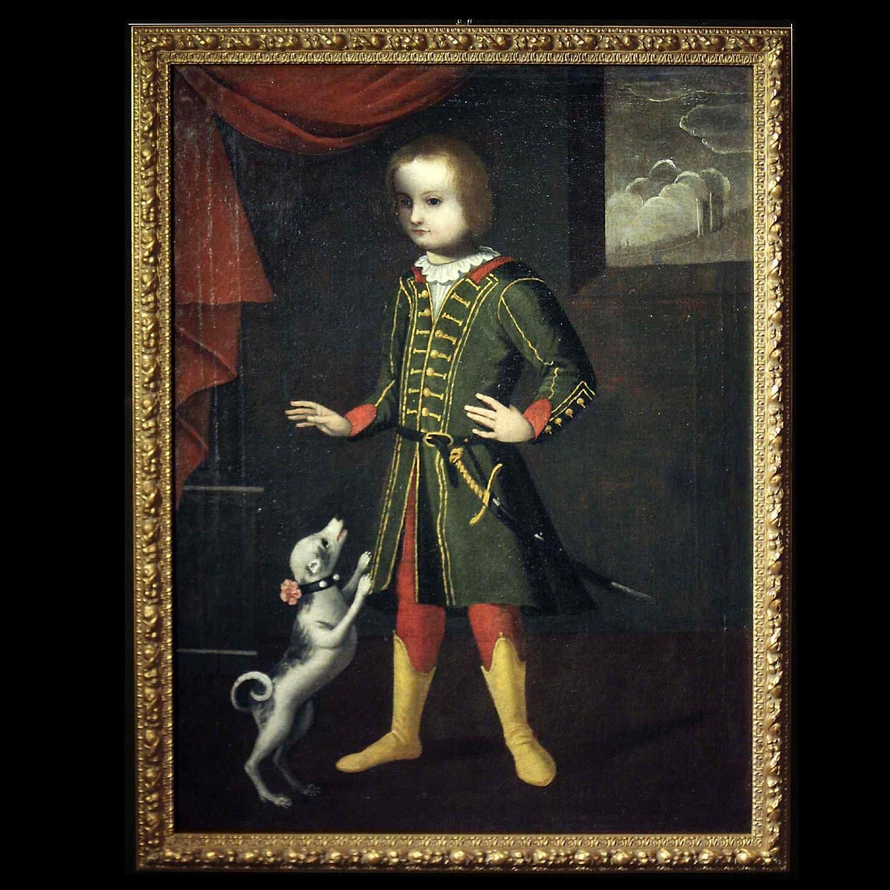 Portrait d'un enfant avec un chien, Vénétie, 17ème siècle
