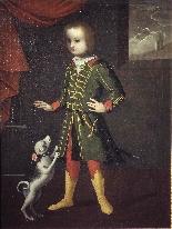 Portrait d'un enfant avec un chien, Vénétie, 17ème siècle-1