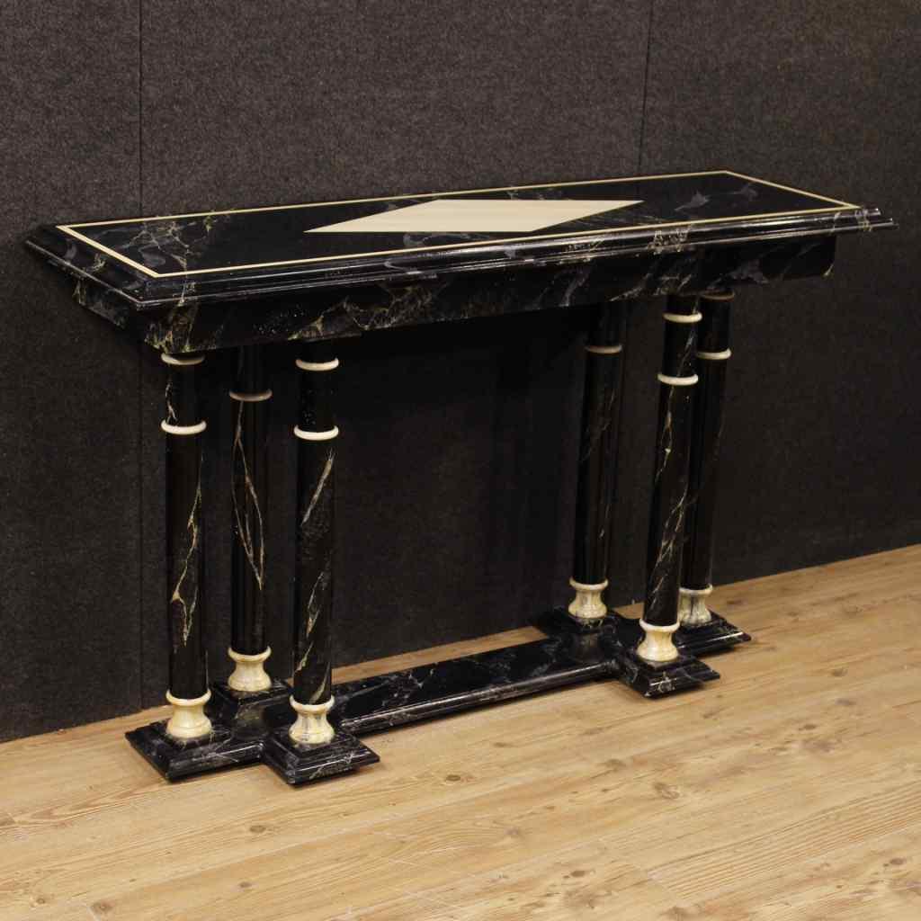 Console francese in legno laccato finto marmo