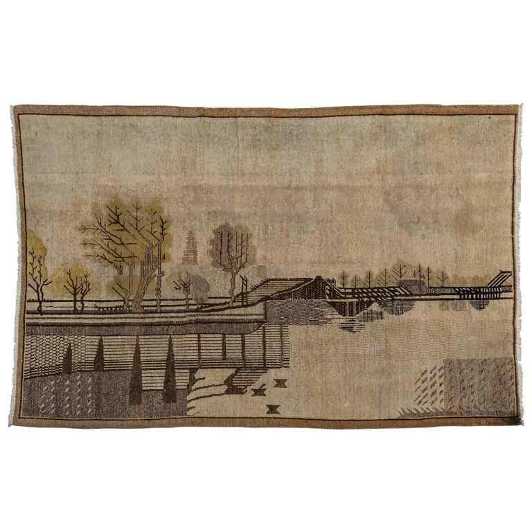 Tapis Samarkanda vintage avec paysage oriental