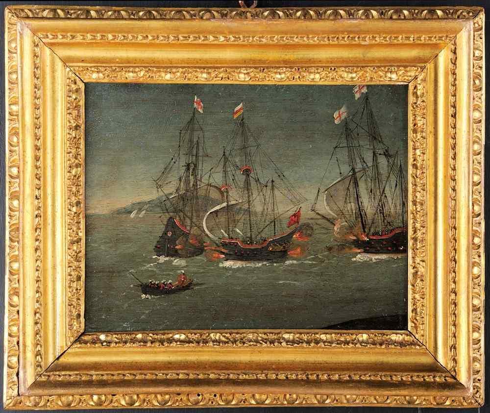 Paul Brill attribué, bataille navale, 17ème siècle
