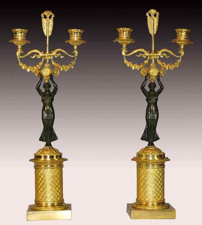 Coppia di Candelabri in bronzo patinato e dorato